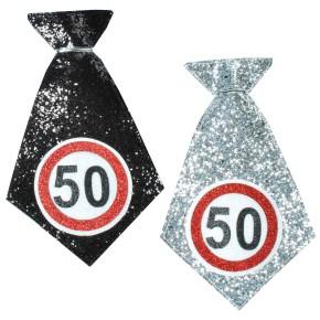 Mini Krawatte zum 50. Geburtstag farblich sortiert