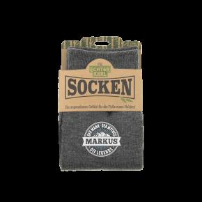 History & Heraldry Design Bambus Socken mit Name: Markus    - für Männer Herren 39 - 45 / atmungsaktiv, antibakteriell und umweltfreundlich - Geschenk - individuell mit Namen und Spruch