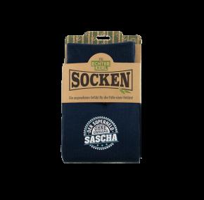History & Heraldry Design Bambus Socken mit Name: Sascha    - für Männer Herren 39 - 45 / atmungsaktiv, antibakteriell und umweltfreundlich - Geschenk - individuell mit Namen und Spruch