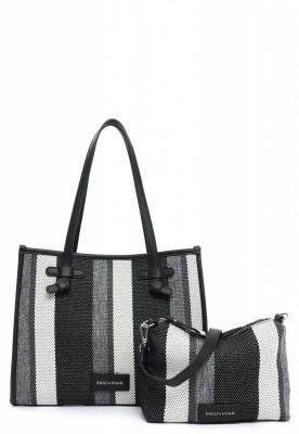EMILY & NOAH Damentaschen Handtaschen City Shopper Esther black-stripes 35x14x28cm