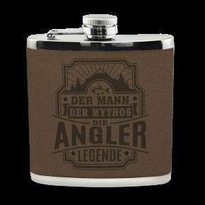 Edelstahl Echter Kerl Flachmann Angler für Outdoor und Camping Geschenk für Männer - Leder