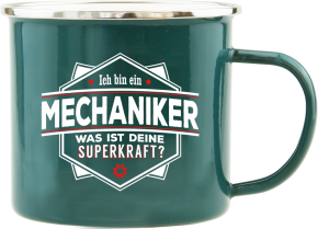 H&H Echter Kerl Emaille Becher Mechaniker