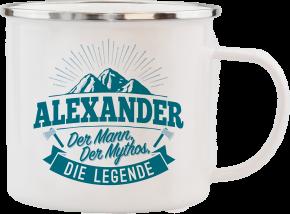 H&H Echter Kerl Emaille Becher mit Namen Alexander