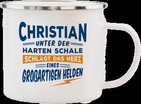 H&H Echter Kerl Emaille Becher Christian