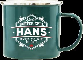 H&H Echter Kerl Emaille Becher Hans