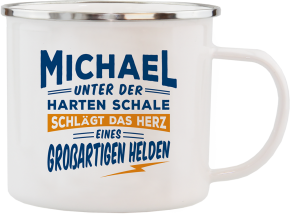H&H Echter Kerl Emaille Becher Michael