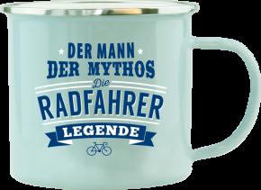 H&H Echter Kerl Emaille Becher Radfahrer