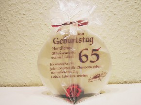 Geschenk Kerze zum 65. Geburtstag 215g Grundpreis 106,75€/kg