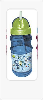 Trinkflasche blau m. grüner Kappe für Jungen No text (Piraten)