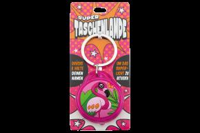 Super Taschenlampe mit Titel:  Charakter Flamingo - Schluessel Anhaenger auch fuer Schulranzen - als Geschenk - individuell mit Namen und Spruch