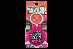 Super Taschenlampe mit Titel: Super Tochter - Schluessel Anhaenger auch fuer Schulranzen - als Geschenk - individuell mit Namen und Spruch
