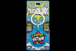 Super Taschenlampe mit Titel: Super Sohn - Schluessel Anhaenger auch fuer Schulranzen - als Geschenk - individuell mit Namen und Spruch