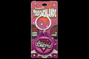 Super Taschenlampe mit Titel: Super Schwester - Schluessel Anhaenger auch fuer Schulranzen - als Geschenk - individuell mit Namen und Spruch