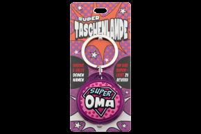 Super Taschenlampe mit Titel: Super Oma - Schluessel Anhaenger auch fuer Schulranzen - als Geschenk - individuell mit Namen und Spruch