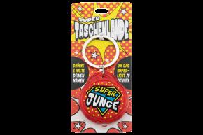 Super Taschenlampe mit Titel: Super Junge- Schluessel Anhaenger auch fuer Schulranzen - als Geschenk - individuell mit Namen und Spruch