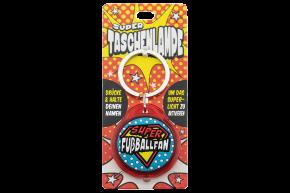 Super Taschenlampe mit Titel: Fußballfan - Schluessel Anhaenger auch fuer Schulranzen - als Geschenk - individuell mit Namen und Spruch