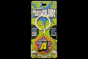 Super Taschenlampe mit Buchstabe: A - Schluessel Anhaenger auch fuer Schulranzen - als Geschenk - individuell mit Namen, Buchstabe oder Spruch