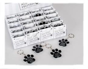 1 Stück Schlüsselanhänger in Papiertüte für Hundeliebhaber sortiert verschiedene Sprüche