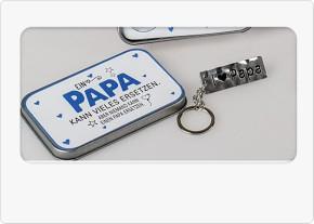 Schlüsselanhänger in Box mit Spruch Papa