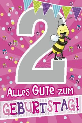 Depesche Zahlenkarten mit Musik 2 Alles Gute zum Geburtstag! - rosa