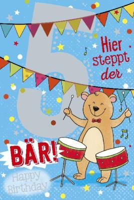 Depesche Zahlenkarten mit Musik 5 Hier steppt der Bär! Happy ...