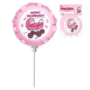 Ballon zur Geburt Mädchen, 3-tlg., selbstaufblasend