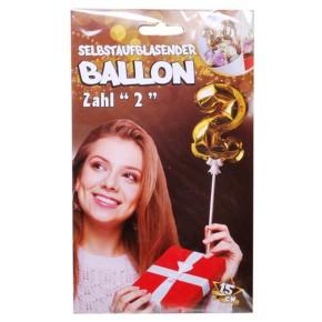 Folien Ballon zum Geburtstag mit Zahl 2 selbstaufblasend Farbe gold