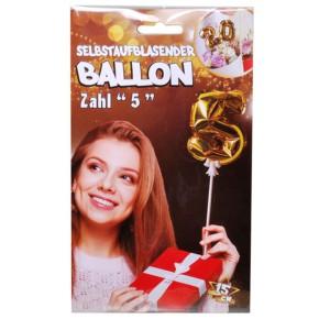 Folien Ballon zum Geburtstag mit Zahl 5 selbstaufblasend Farbe gold