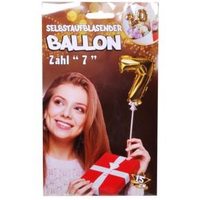 Folien Ballon zum Geburtstag mit Zahl 7 selbstaufblasend Farbe gold