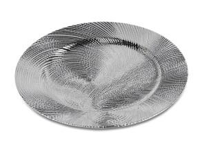Platzteller rund 33cm Dekoteller Serie Wave Farbe Silber