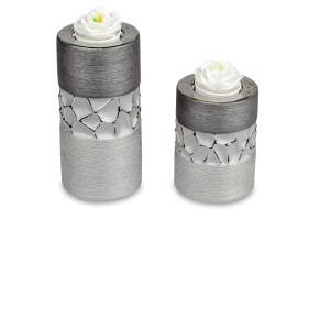Teelichtleuchter 2er Set grau aus matter Keramik mit Relief