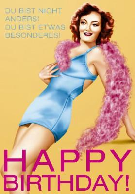 Pink Flamingo Geburtstagskarte Klappkarte Du bist nicht anders! Du bist etwas ...