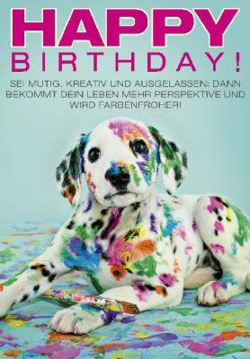 Pink Flamingo Geburtstagskarte Klappkarte Happy Birthday! Sei mutig, kreativ und..