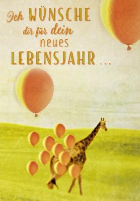 Pink Flamingo Geburtstagskarte Klappkarte Ich wünsche dir für das neue Lebens...