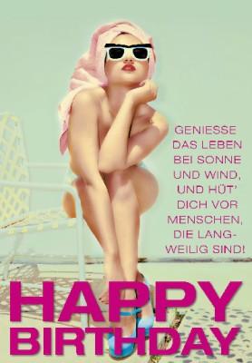 Pink Flamingo Geburtstagskarte Klappkarte Geniesse das Leben bei Sonne und Wind,..