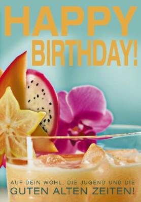 Pink Flamingo Geburtstagskarte Klappkarte Happy Birthday! Auf dein Wohl, die ...