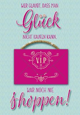 Pink Flamingo Geburtstagskarte Klappkarte  Wer glaubt, dass man Glück nicht kaufen.