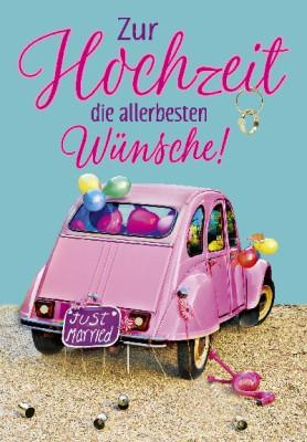 Pink Flamingo Geburtstagskarte Klappkarte Zur Hochzeit die besten Wünsche!