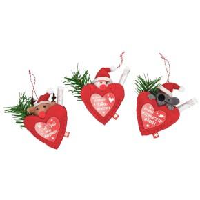 Weihnachtliches Filzherz Geldbriefverpackung 1 Motiv sortiert