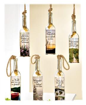 Flaschenpost Besinnung Deko Flasche aus Glas mit 5-LED Lämpchen und Timer sortierter Artikel Lieferumfang 1 Stück