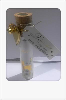 Weihnachtsgruß im Glas mit Grußanhänger 1Flasche Text/Motiv sortiert