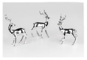 Deko Hirsch 10x15cm aus Porzellan Farbe silber sortierter Artikel Lieferumfang 1Stück