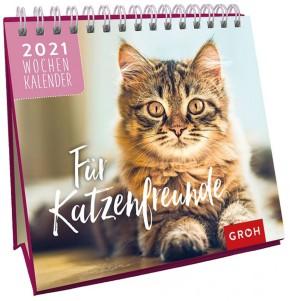 Groh Mini Wochenkalender zum Aufstellen für 2021 Für Katzenfreunde