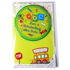 Grußkarte zur Einschulung Karte mit Riesen-Button zum Schulanfang