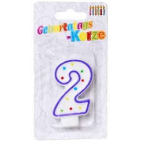 Geburtstagskerze Tortenkerze Zahl 2