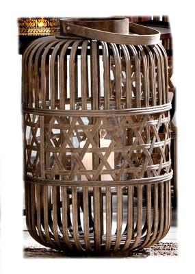 Dekoleuchte Windlicht Bambus Windlicht Bohemian natur Laterne H42cm