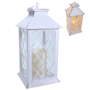 Laterne mit LED-Kerze, antikweiss, 30 cm