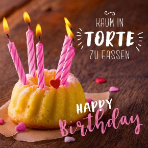 Depesche 3D Foto Klappkarte quadratisch 008 Kaum in Torte zu fassen Happy Birthday