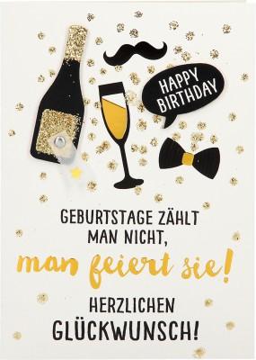 100% Glitzer Geburtstagskarte Anlasskarte Klappkarte10496-024: Geburtstage zählt man icht, man feiert..