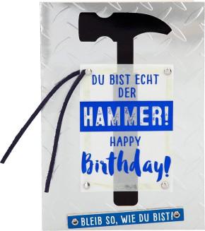 100% Glitzer Geburtstagskarte Anlasskarte Klappkarte10496-026: Du bist echt der HAMMER! Happy...